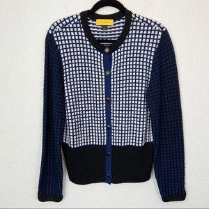 St. John Boucle Knit Navy Blue Sweater Large